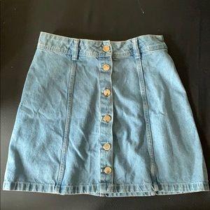 Blue jean button up skirt